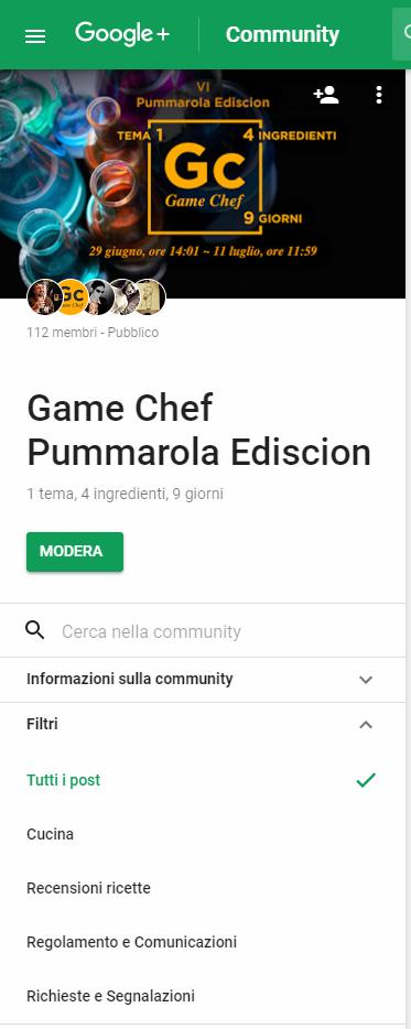 Google+: Impostazioni della community