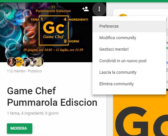Google+: Preferenze della communityGoogle+: Preferenze della community