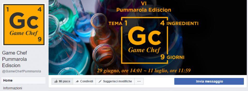 Game Chef Pummarole Ediscion: Pagina Facebook