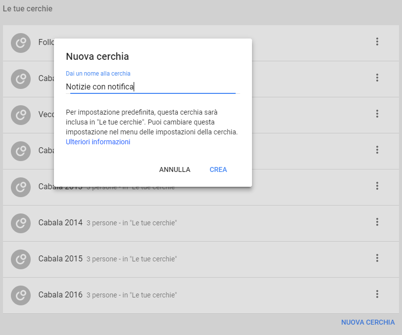 Google+: Crea nuova cerchia